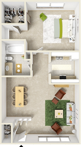 One Bedroom A  / One Bath - 662 Sq. Ft.*