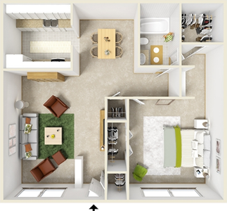 One Bedroom C  / One Bath - 750 Sq. Ft.*