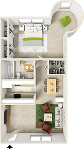 One Bedroom D  / One Bath - 761 Sq. Ft.*