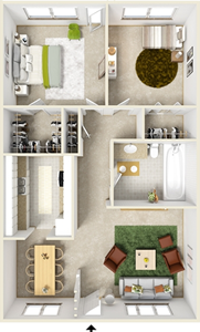 Two Bedroom F  / One Bath - 840 Sq. Ft.*