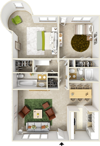Two  Bedroom G1  / Two Bath - 1,059 Sq. Ft.*