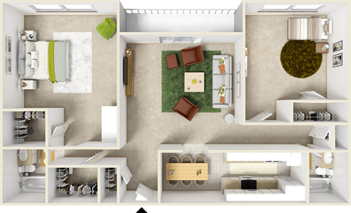 Two  Bedroom H  / Two Bath - 1,154 Sq. Ft.*