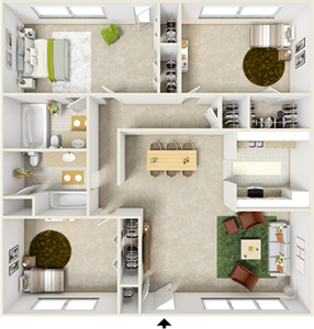 Three  Bedroom  / Two Bath - 1,284 Sq. Ft.*